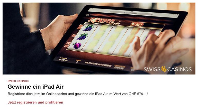 Werden Sie noch heute Mitglied bei SwissCasinos und gewinnen Sie ein brandneues iPad
