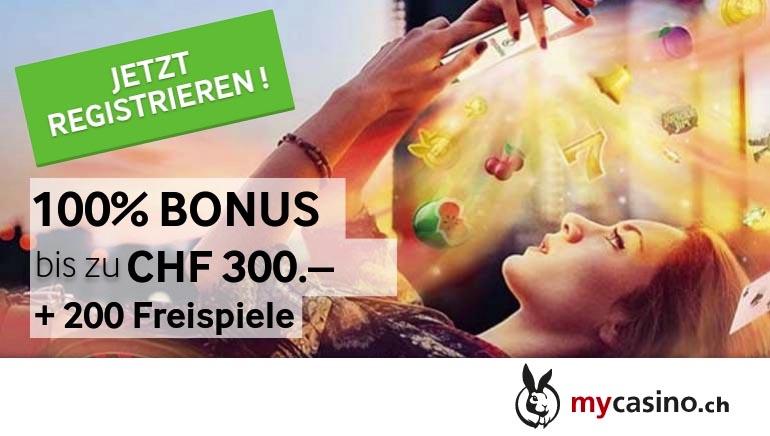 MyCasino - 100% Bonus bis zu CHF 300.- +200 Freispiele