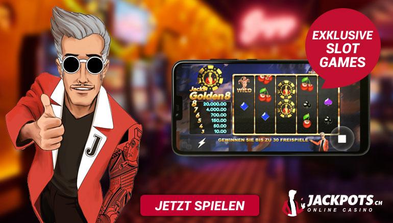 Schauen Sie sich die heißesten exklusiven Spiele an bei eat Jackpots.ch Casino für Schweizer Spieler
