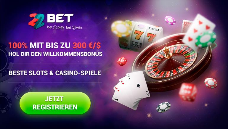 100% Willkommensbonus Bis zu €/$300 Warten im 22BET Casino