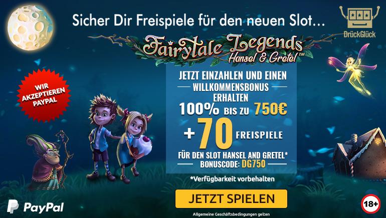 Sagenhaftes Willkommen mit 750 € Bonus und 70 Freispielen im DrückGlück