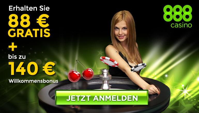 Willkommensbonus im 888Casino: 88 € + bis zu 140 €