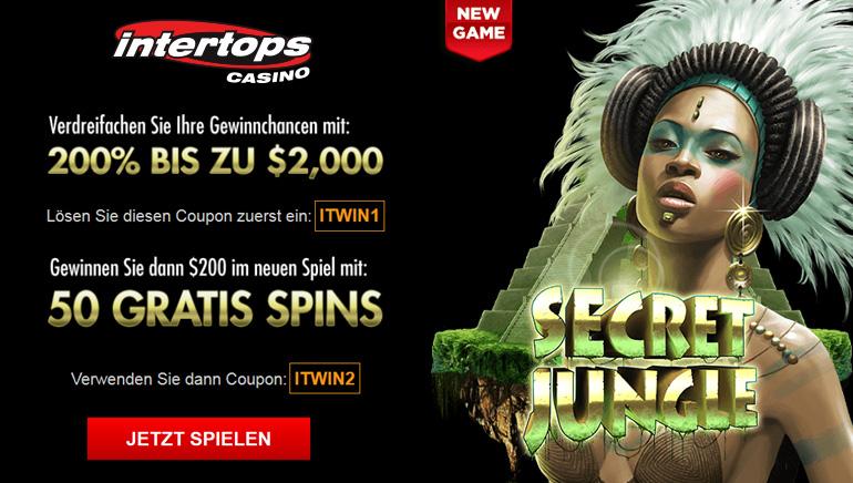 Intertops Casino Special: 200 % Bonus + 50 Freispiele