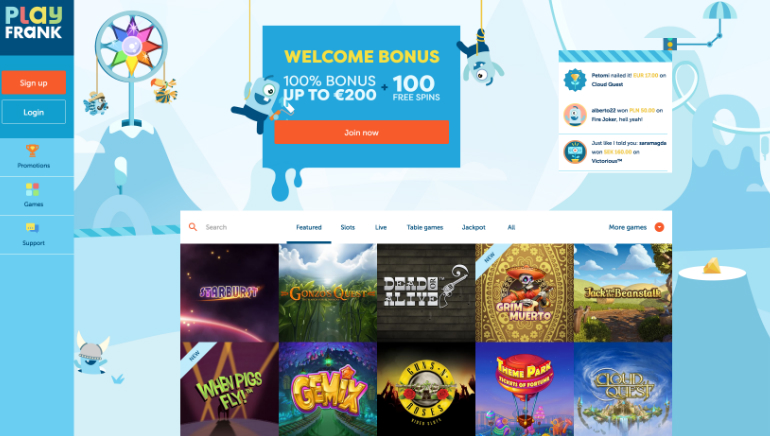 Das PlayFrank Casino überzeugt mit einem brandneuen Design